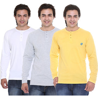 Ave Fashion Wear Henley T-Shirt Combo Pack Of - 3 AV-3CM-HT-WH-YL-GY