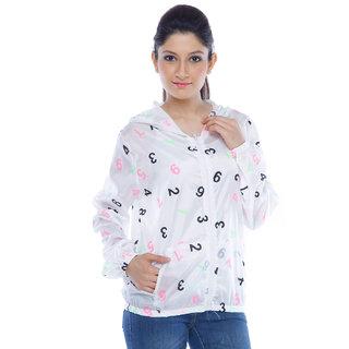 Designeez White Geometric Print Nylon Raincoat