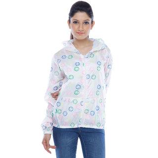 Designeez White Printed Smile Nylon Raincoat