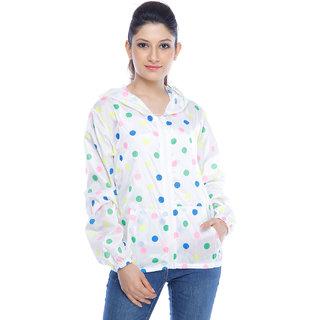 Designeez White Polka Print Nylon Raincoat