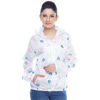 Designeez White Printed Nylon Raincoat
