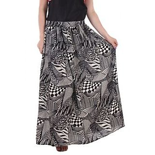 Ruhaans Black Rayon Printed Casual Skirt