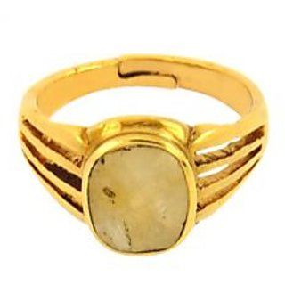 jaipur gemstone 4.50ratti yellow sapphire(ashtdhatu ring)