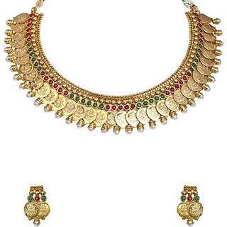 SthriElite Lakshmi Necklace Alloy Jewel Set (Gold)