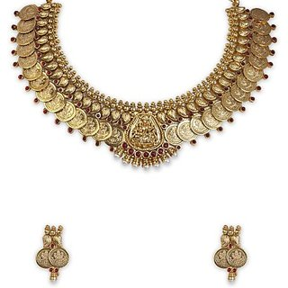 SthriElite Lakshmi Necklace Alloy Jewel Set (Gold)