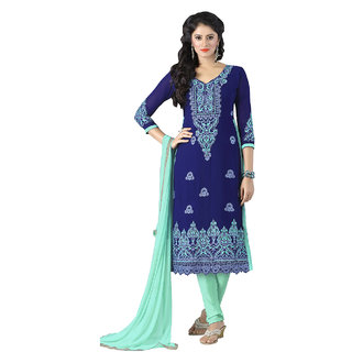 Shopeezo Blue Colored Georgette Embroidered Dress Material