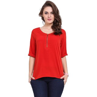 Red color front zipper top