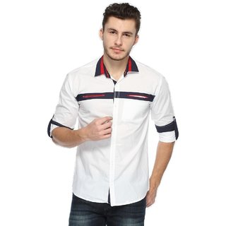Wajbee Mens 100 Percent Cotton White Shirt