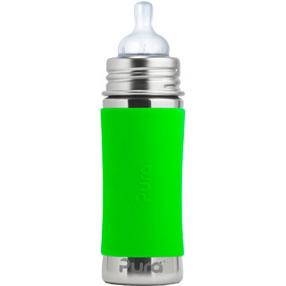 PURA 11OZ/325ML GREEN SLEEVES BOTTLE WITH NATURAL VENT NIPPLE