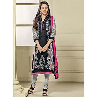 Vastrani Black and Grey Georgette Embroidered Party Wear Salwar Suit 397DR40006