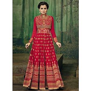 Vastrani Red Georgette Embroidered Party Wear Salwar Suit 400DR3002