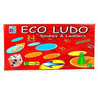 Eco Ludo Snakes  Ladder 2 in 1 Combo Standard Size Board Game, Attractive Look, Waterproof - For Kids Children