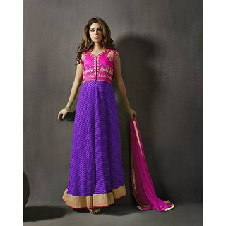 Thankar Pink  Blue Embroidered Silk Anarkali Suit