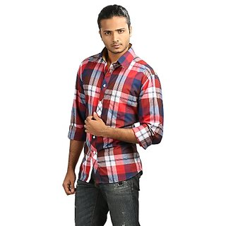 Jogur Men's Casual Shirts - Maroon