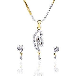 Antiquejewels Brass Gold Plated Women Cubic Zircon Jewellery Set,Earring and Necklace