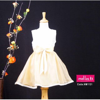 Gold And White Combination Frock