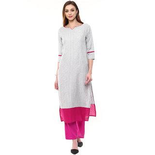 Jaipur Kurtis Grey South Cotton Self Kurta