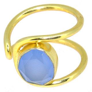 Casa De Plata Blue Chalcedony Gold Plated Ring
