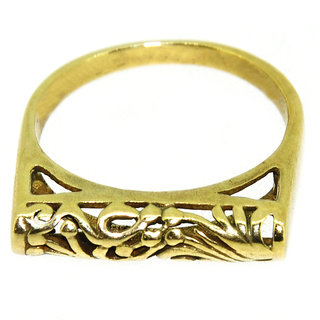 Casa De Plata Golden Plain Gold Plated Ring
