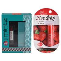 Mintz Glossy Lipstick (Tempting Red) + Naughty Color Lip Balm (Strawberry) + Lipstick Tester