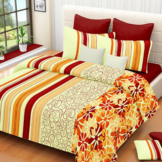 Always Plus Multicolor Striped Cotton Bedsheet (1 Double bedsheet With 2 Pillow Cover)with TC120