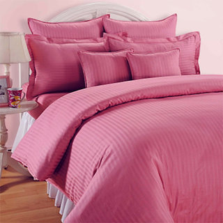 Always Plus Pink Striped Satin Bedsheet (1 Double bedsheet With 2 Pillow Cover)with TC220