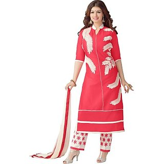 Shri Sai Fashion Cotton Embroidered Semi-stitched Salwar Suit Dupatta Material