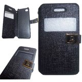 Black Leather S View Flip Folio Diary Cover Case For Apple Iphone 4G / 4S / 4
