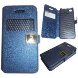 Blue Leather S View Flip Folio Diary Cover Case For  Apple Iphone 5G / 5s / 5