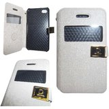 White Leather S View Flip Folio Diary Cover Case For Apple Iphone 4G / 4S / 4