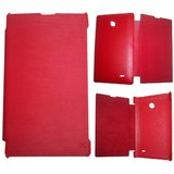 Red Leather Flip Book Cover Case For Nokia X / Nokia RM-986
