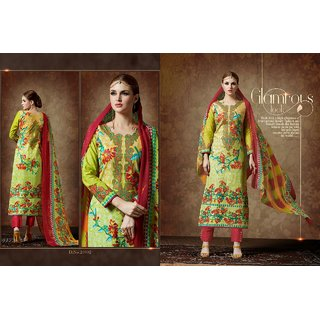 Digital printed designer cotton suit with chiffon dupatta