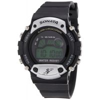 Sonata Superfibre Digital Silver  Black Dial Watch - For Men - 7982PP02