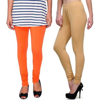 Stylobby Orange and Beige Leggings For Girls Pack of 2
