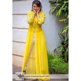 FABLIVA Yellow  White Embroidered Cambric Cotton Straight Suit