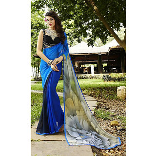 Thankar Blue Printed Georgette Saree