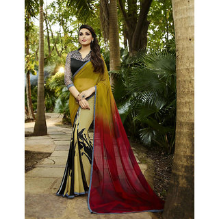 Thankar Yellow  Maroon Printed Georgette Saree