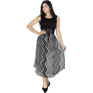 Western Dresses In Multi Colors and PrintsDressBlackWhiteGeorgette