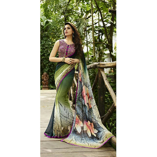 Thankar Olive Green Printed Georgette Saree