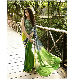 Thankar Green Printed Georgette Saree