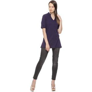 Vvoguish Navy Blue Cotton Shirt Collar Long Sleeve Top