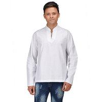 Pariwar 100 Cotton White Short Kurta with Chinese Collar For Men
