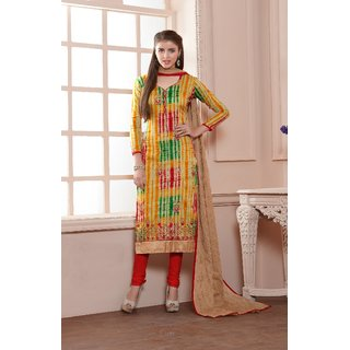 Thankar Multy  Red Printed Glace Cotton Straight Suit