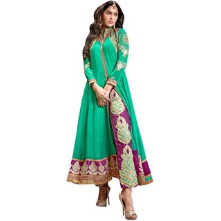 Style Mania Outstanding Green Georgette Embroidery Work  Lace Border  Anarkali Salwar Kameez SMSTPR9001 SMSTPR9001