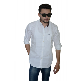 Reverse Lifestyle Mens Plain White Casual Poplin Shirt
