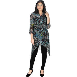 Stylish Kurtis In Multi patterns and colorCOLOR     TurqBlack    FABRIC     Georgette