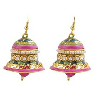 Kundan Meenakari Bell Shaped Jhumki Earring Set 5