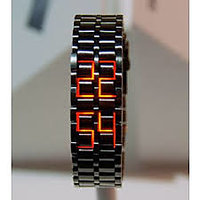 Black Samurai Steel RED LED Digital Watch Cum Bracelet For Mens