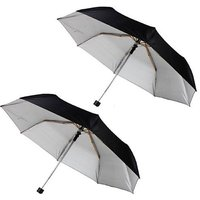 Trendmakerz 3 fold umbrella Black - Pack of 2