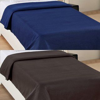 BSB Trendz Premium Plain Sinlge Ac Fleece Blanket Set Of 2 C2-5MB6
